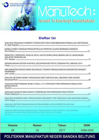 View Vol. 9 No. 02 (2017): Manutech : Jurnal Teknologi Manufaktur